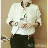 Spesifikasi 369 Jacket Kesha Casual Wanita Motif Kerah Bahan Babyterry Putih Lengkap Dengan Harga