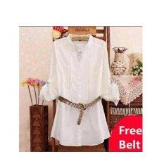 369 Kemeja Alice Casual Wanita Bahan Katun Rayon Putih - Gratis Belt