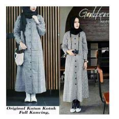 369 Long Dress Casual Wanita Bahan Katun Kotak Hitam Putih (Tanpa Pashmina)