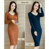 Jual 369 Mini S*xy Dress Casual Wanita Lengan Panjang Bahan Rajut Bata Import