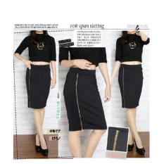 Harga 369 Mini S*xy Rok Scuba Casual Wanita Model Sleting Slim Fit Hitam Fullset Murah