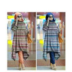 369 Setelan Hijab Casual Wanita Motif Tribal Biru