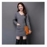 Dapatkan Segera 369 S*xy Mini Dress Casual Wanita Lengan Panjang Bahan Rajut Dengan Pocket Abu
