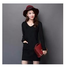 Spesifikasi 369 S*xy Mini Dress Casual Wanita Lengan Panjang Bahan Rajut Dengan Pocket Hitam Merk 369