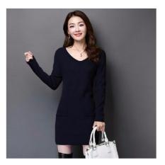 369 Sexy Mini Dress Casual Wanita Lengan Panjang Bahan Rajut Dengan Pocket - Navy Blue