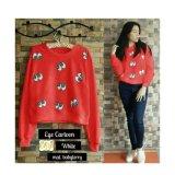 Harga Termurah 369 Sweater Casual Wanita Motif Mata Merah