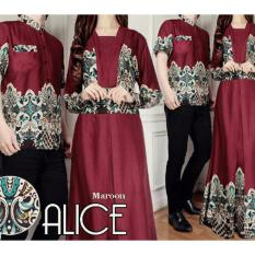38 Cp Alice Busana couple Gamis Couple Batik (Maroon)