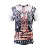 3D Cowboy Fake Two Short T Shirt Large Size Tattoo Muscle Digital Print T Shirt Intl Qing Shui Diskon 30