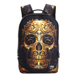 Jual 3D Printing Backpack Gold Skull Sch**l Bags For Teenagers Halloween Bag Middle Sch**l Bookbag Knapsack Hiking Daypack Travel Bag Intl Murah