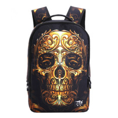 Toko 3D Printing Backpack Gold Skull Sch**l Bags For Teenagers Halloween Bag Middle Sch**l Bookbag Knapsack Hiking Daypack Travel Bag Intl Terlengkap Di Tiongkok