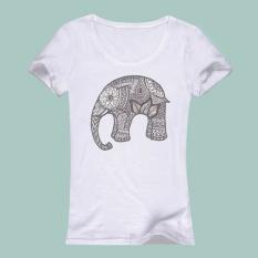 3D Wanita Ramping Pendek Lengan Cetak T-shirt Baju Kemeja Gajah Pola Cetak Pola-Intl