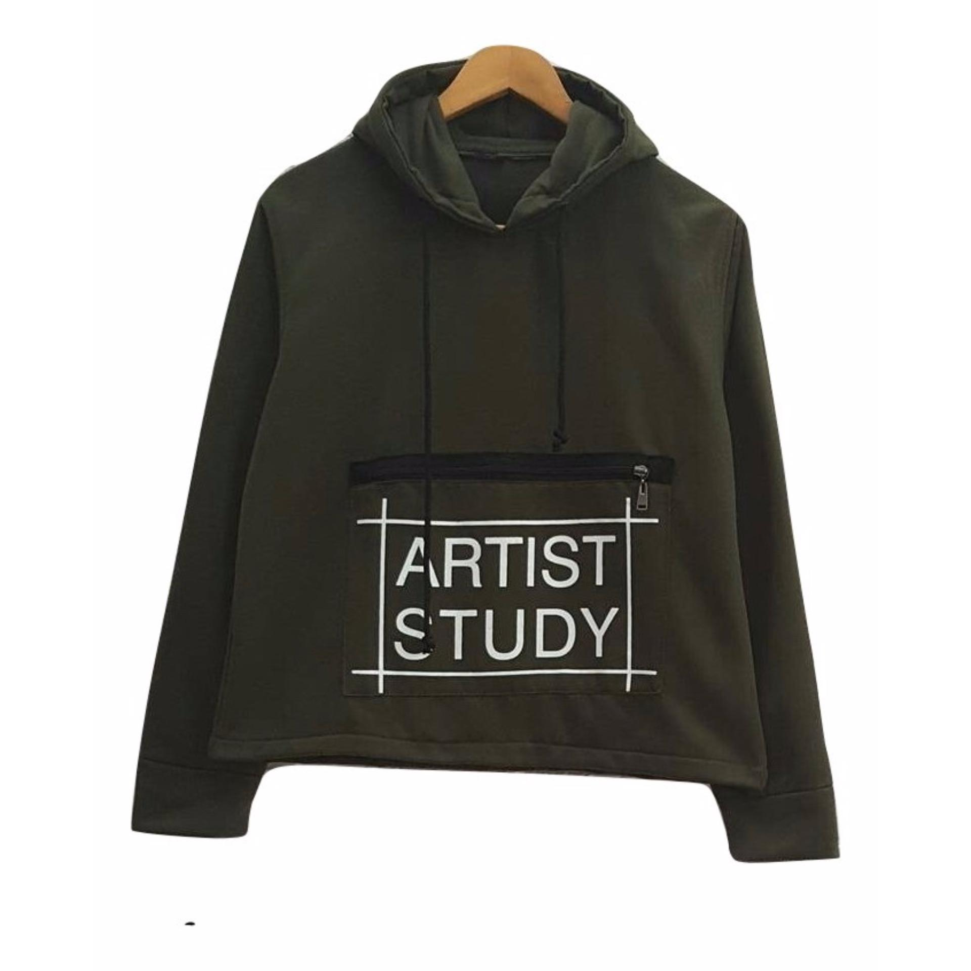 Motif Kantong Di tengah Badan 3K Artist Study Sweater - Fleece - Hijau Army