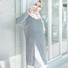 Jual 3K Baju Muslim Slit Sweater Tunic Rajut Premium Abu Original