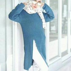 3K Baju Muslim - Slit Sweater Tunic - Rajut Premium - Blue Denim