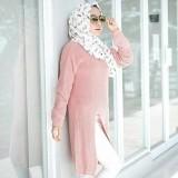 3K Baju Muslim Slit Sweater Tunic Rajut Premium Dusty Pink Murah