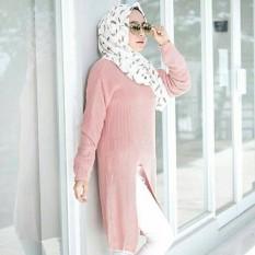 Review 3K Baju Muslim Slit Sweater Tunic Rajut Premium Dusty Pink 3K Fashion Di Jawa Barat