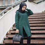 Promo 3K Baju Muslim Slit Sweater Tunic Rajut Premium Hijau Army Akhir Tahun