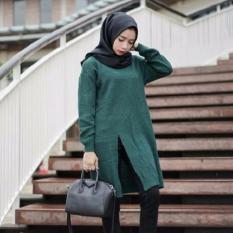 Toko 3K Baju Muslim Slit Sweater Tunic Rajut Premium Hijau Army Dekat Sini