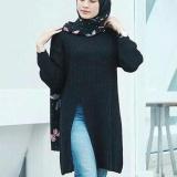 Jual Beli 3K Baju Muslim Slit Sweater Tunic Rajut Premium Hitam Di Indonesia