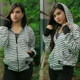 Jual 3K Fashion Hodie Strip Sweater Fleece White Grey Ori