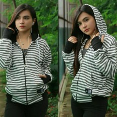 Jual 3K Fashion Hodie Strip Sweater Fleece White Grey 3K Fashion Di Jawa Barat