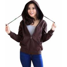3Kfashion Zipper Hodie Sweater Hodie Wanita Fleece Brown Asli