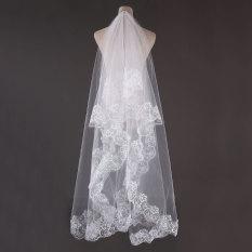 Spesifikasi 3 M 1 Lapis Elegan Pengantin Kerudung Renda Bordiran Tepi Katedral Lantai Panjang Putih Murah