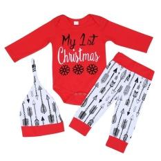 3 Pcs Bayi Natal Sesuai dengan Panjang Lengan Rompers + Arrow Dicetak Celana + Hat-Intl