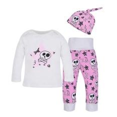 3 Pcs Baby Skull Print Setelan Pakaian Panjang Lengan T-shirt + Panjang Celana +