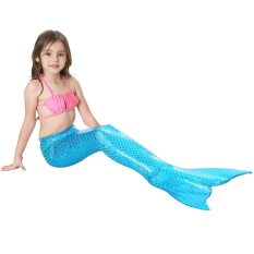 3 Pcs Girls Swimwear Mermaid Tail Berenang Kostum Monofin Sirip Beach Swimsuit-Biru-Intl By Eleganthome.