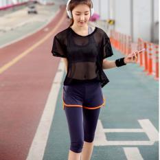 3 Pcs Wanita Breathable Yoga Set Tops Bras Celana T-shirt Pullover Aktif GYM Fitness Wear Pakaian Olah Raga Ukuran S-XL- INTL