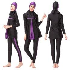 3 Pcs Wanita Full Cover Panjang Muslim Swimwear Ladies Arab Islam Beach Wear Sederhana dengan Jilbab-Intl