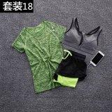 Promo 3 Pcs Wanita Perlengkapan Olahraga Pakaian Yoga Menjalankan Suit Cepat Kering T Shirt Bra Dengan Ritsleting Net Benang Shorts T Shirt Hijau Intl Di Tiongkok