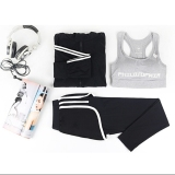 Diskon 3 Pcs Wanita Yoga Menjalankan Pocket Jactet Celana Bra Tiga Potong Set Women S Gym Olahraga Suit Intl Oem