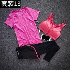 3 Pcs Yoga Set Wanita Cepat Kering Tanpa Lengan T-shirt + Zipper Pad Bra + Kota Dalam Satu Celana Breathable Running Set Hot Pink 1-Intl