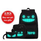 Miliki Segera 3 Pcs Set Medium Ukuran Totoro Travel Glow In The Dark Kanvas Ransel Tas Sekolah Bercahaya Intl