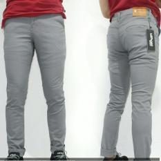 3R/celana panjang chino katun twil/pria/abu muda