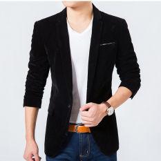 4 Warna Men New Pleuche Blazer Suit Emas Velvet Pria Mantel Pernikahan Gaun Jas (Hitam)-Internasional