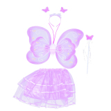 4 Pcs Set Cute Butterfly Wings Gaya Anak Anak Anak Anak Wing Wand Headband Dresses Gadis Fairy Kostum Panggung Untuk Halloween Cosplay Sch**l Show Party Ungu Hong Kong Sar Tiongkok