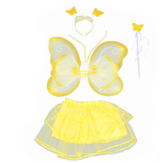 Cara Beli 4 Pcs Set Cute Butterfly Wings Gaya Anak Anak Anak Anak Wing Wand Headband Dresses Gadis Fairy Kostum Panggung Untuk Halloween Cosplay Sch**l Show Party Kuning