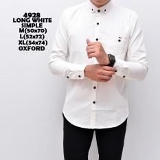 4928 Baju Hem Kemeja Pria Cowok Lengan Panjang Slimfit White Simple putih Polos Distro Grosir Murah