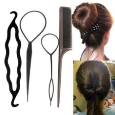 4pcs Set Hair Styling Clip Bun Topsy Tail Braid Ponytail Maker Styling Tool (Size/Style:One Size,Color:Blue) - intl