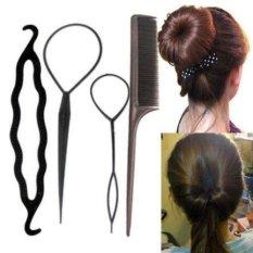 4 Pcs Set Hair Styling Clip Bun Topsy Tail Braid Ekor Kuda Maker Styling Tool (Ukuran/a: Satu Ukuran, Warna: Rose Merah)-Intl