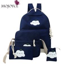 4 Pcs/sets Korean Casual Wanita Ransel Kanvas Tas Tas Cute Cloud Print Schoolbag untuk Wanita Ransel TERBAIK untuk WANITA dari Bahan Kulit INTL