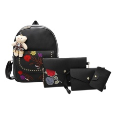 4 Pcs Tas Wanita Set Kasual Bordir Backpack Shoulder Bag Tas Dompet (Hitam)-Intl