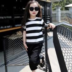 5-18Y Musim Panas Fashion Remaja Gadis Pakaian Set Lengan Pendek T-shirt + Celana Kaki Yang Lebar 2 Pcs Gadis Kasual Pakaian Suit-Intl