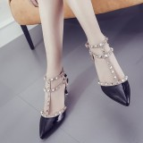 Harga 5 Cm Korea Fashion Style Kulit Paten Hak Tipis Kata Sandal Summer Paku Keling Sepatu Hak Tinggi Hitam Ganda Sabuk 5 5 Sentimeter Dengan Standar Sepatu Wanita High Heels Sepatu Wanita Wedges