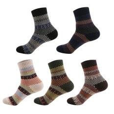 Toko 5 Pasang Pria Warna Campuran Striped Socks Musim Dingin Tebal Kaus Kaki Hangat Intl Termurah Tiongkok