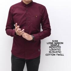 5198 Baju Hem Kemeja Pria Cowok Lengan Panjang Slimfit merah marun  Polos Distro Grosir Murah