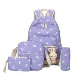 Harga 5 Pcs Set Women Canvas Backpack Lovely Rabbit Sch**l Travel Teenage Tas Bahu Ungu Internasional Yg Bagus